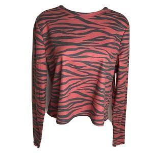 BP Long Sleeve Crew Neck Zebra Print Top